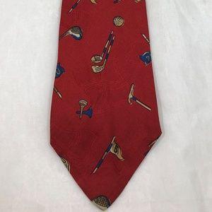 """Polo by Ralph Lauren Red Golf Silk Necktie Tie 60"""""""